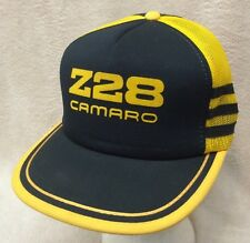 Vtg Z28 Camaro SnapBack Trucker Hat Black Foam Front Gold Mesh Back And Trim