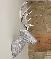 Silver Metal Effect Stag Head Wall Decoration Reindeer Christmas Bling Bust
