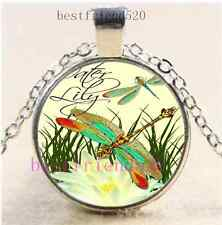 New Dragonfly Photo Cabochon Glass Dome Silver Chain Pendant Necklace