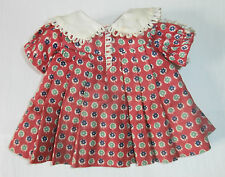 "Size Tagged Vintage 1930s 16"" Ideal Composition Shirley Temple Doll Loop Dress"