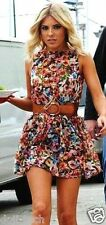 Topshop Inky Rose Floral Celeb Summer Skater Mini Tunic Sun Tea Dress 8 36 US4 S