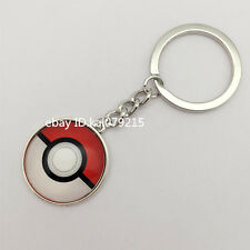Tibetan Silver Anime Pokemon Pokeball Jewelry Glass Dome Pendant Key Ring