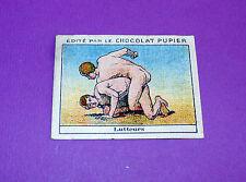 LES SPORTS D'AUTREFOIS LUTTEURS  CHROMO CHOCOLAT PUPIER JOLIES IMAGES 1930