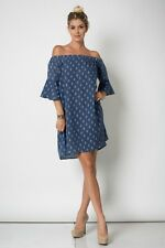 SHAKE IT Off/Cold-Shoulder Bell Sleeve Denim Mini Dress/Tunic M BOHO HIPPIE CHIC