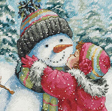 Dimensions Gold Collection Christmas Cross Stitch Kit  A Kiss For Snowman