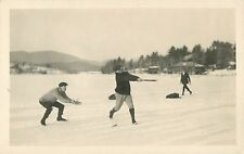 A Pickup Game of Baseball in the Snow, Lake Placid NY RPPC