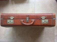 Vintage Victor Luggage Hardbody Leather & Canvas Suitcase shirt compartments SW