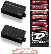 EMG 57 + 66 ORIGINAL BLACK ACTIVE SOLDERLESS PICKUPS ( 6 DUNLOP STRING SETS )