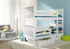 BUNK BEDS Wooden Children`s 2ft6 Small Single 2x Spring MATTRESSES  DRAWERS