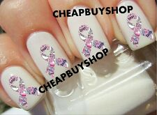 Top Quality》PINK RIBBON BREAST CANCER》Hope Faith Love Logo》Nail Art Decals