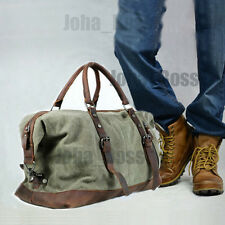 Vintage Retro Men Genuine Leather canvas duffle weekend bag lightweight luggage