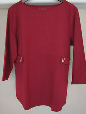 Chico's Hardware Detail DEEP RED Ponte Top Size 4 20 22 2XL New 3XL