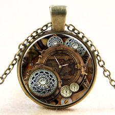 Vintage Compass watch Cabochon Bronze Glass Chain Pendant Necklace xl-14