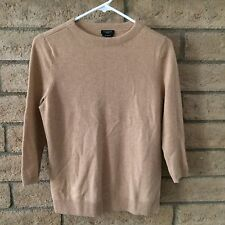 Talbots Petite 100% Pure Cashmere Camel Tan 3/4 Sleeve Sweater Medium MP