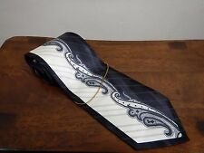 """NWOT Stacy Adams Dress Tie Black/White 100% Silk 3 3/4"""" Wide Paisley Gold Chain"""