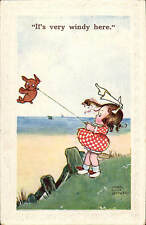Mabel Lucie Attwell. It's Very Windy Here # 162 in MM Series. Seaside Dog / Kite