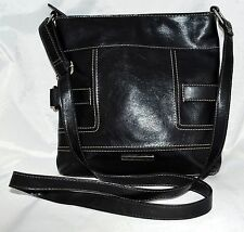 Nine West Black with White Stitching Faux Leather Crossbody Bag Adjustable Strap