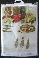 Christmas Tablecloth Cross Stitch Kit RICO Topiary Trees 35x35 Square Czech