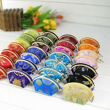 Lot of 30 pcs Chinese embroidery Silk satin Coin pouch PURSE wallet wholesale