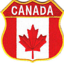 CANADA FLAG SHIELD, GOLD BORDER-IRON ON PATCH/CANADIAN, MAPLE LEAF