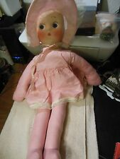 """Vintage 23"""" Molded face cloth  doll"""