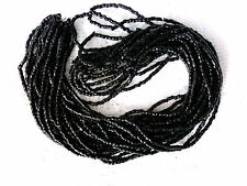 Vintage 1 HANK BLACK 3 CUT SEED BEAD 9/0 FACETED end of stock #010109yy