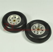 1 Pair 4inch Solid Rubber Wheels with Alu Hub For RC Airplane H28mm ZY # NEW