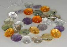 14MM  MIX QUARTZ GEMSTONE GRADE B FLAT ROUND LOOSE BEADS 7""