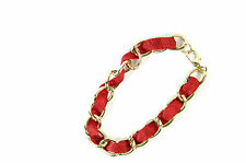 ELEGANT RED/ GOLD CHAIN BRACELET UNIQUE LADIES STUNNING EVENING PARTY WEAR(st37)