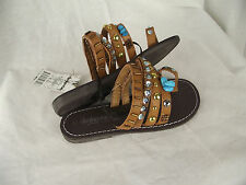 BNWT Little Girls Sz 12 Smart Tan Rivers Doghouse Strappy Bead Sandals RRP $30
