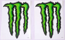 "SET OF 2 MONSTER ENERGY DRINK LOGO STICKERS Black/Green 5.5"" x 8.5""  NEW"