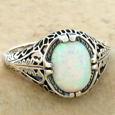 WHITE LAB OPAL ANTIQUE FILIGREE DESIGN 925 STERLING SILVER RING SZ 6,#682