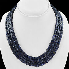 ABSOLUTELY MAGNIFICIENT 488.50 CTS NATURAL 4 LINE BLUE TANZANITE BEADS NECKLACE