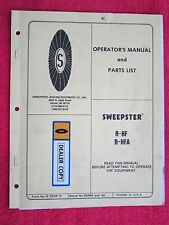 SWEEPSTER MODELS R-HF & R-HFA POWER SWEEPER OPERATORS-MAINTENANCE-PARTS MANUAL
