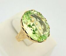 Antique Victorian Old Cut 15ct Peridot Gemstone Ring 14k Yellow Gold Vintage 8