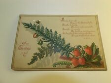 Victorian Trade Card Christmas Wishes Holiday Poem Wild Strawberries Fern