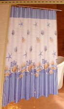 "NEW BLUE AND WHITE ""SHELL WREATH"" SEASHELL SEASHELLS FABRIC SHOWER CURTAIN"