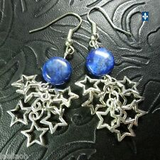 ♥ Beautiful Lapis Lazuli Coin Plated Silver Starry Cluster Earrings