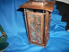 """Lovely Metal Glass Square Pagoda Lantern hanging candle viney design 9"""""""