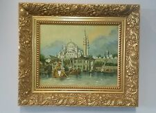 Vintage Original Oil Painting  - unsigned - Harbor & Blue Mosque Istanbul Turkey