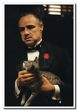 """24""""x16"""" Fiber Old Movie Vintage  Poster Marlon Brando With Cat The Godfather"""