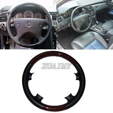 Black Leather Wood Steering Wheel Cover 00-02 Mercedes W210 97-02 C208/W208 CLK