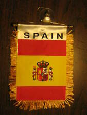 "SPAIN FLAG MINI BANNER 4""x6"" CAR WINDOW MIRROR SPANISH"
