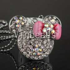 Alloy Rhinestone Crystal Charm Mini Mouse Head Face Pendant Necklace Jewelry 38