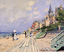 Art Oil painting Claude Monet - The Boardwalk at Trouville people by beach