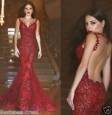 Reds Sequin Mermaid Evening Dress Sleeveless Sweetheart Prom gowns  Bridal Gowns
