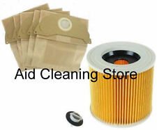 For Karcher A2204, A2234PT, A2534 Vacuum Cleaner 5 X Paper BAGS & FILTER