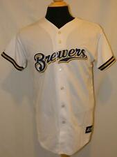 NWT! Genuine MLB MILWAUKEE BREWERS Baseball White Logo JERSEY SHIRT Youth XL