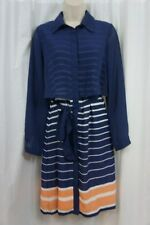 NY Colletion Dress Sz S Blue Multi Striped Long Sleeve Business Casual Dress