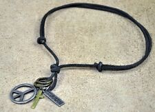 PN41 Cool Mens Surfer Beach Genuine Black Leather Choker Necklace Peace & Cross